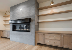 fireplace from stonini industrial concrete panels